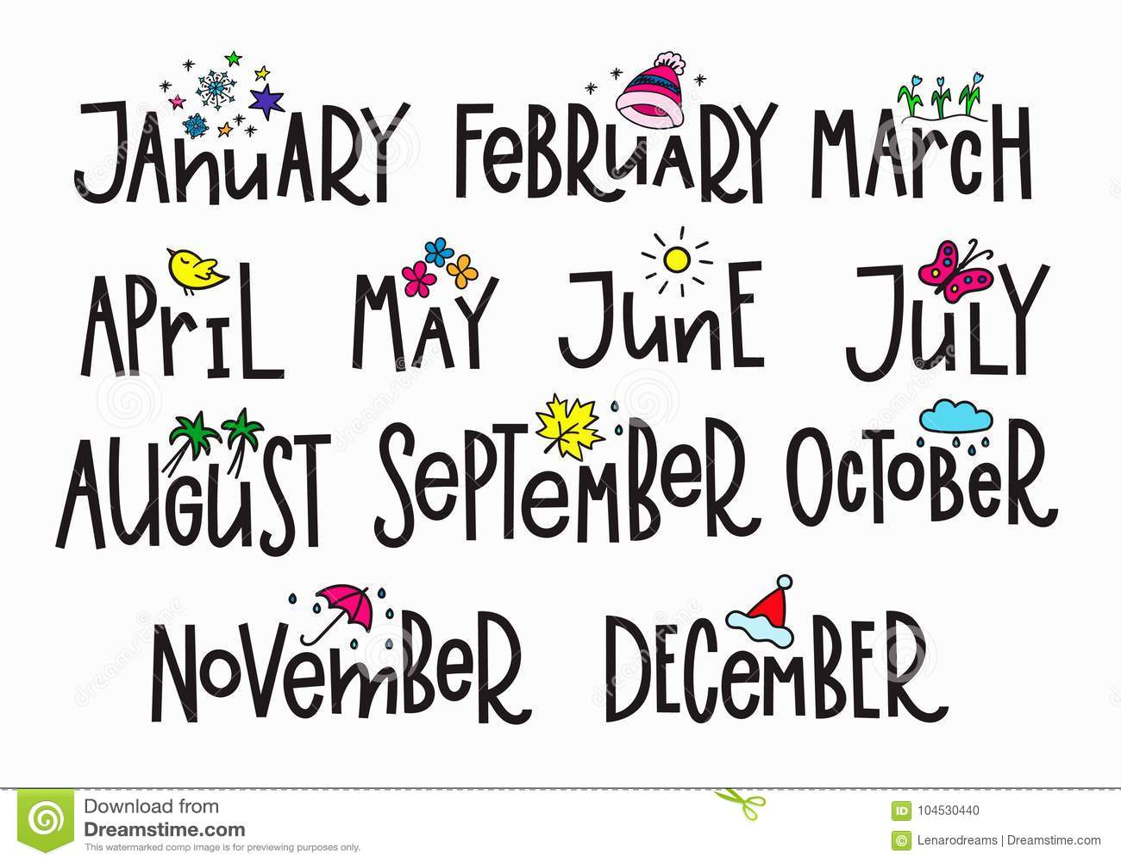 Meses Del Ano Del Calendario De Tipografia De Las Letras