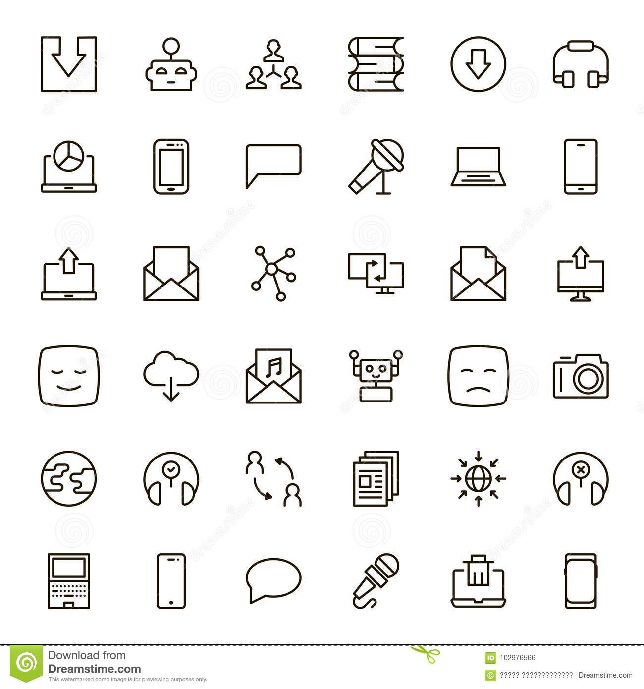 Flat Line Icon Stock Vector Illustration Of Computer