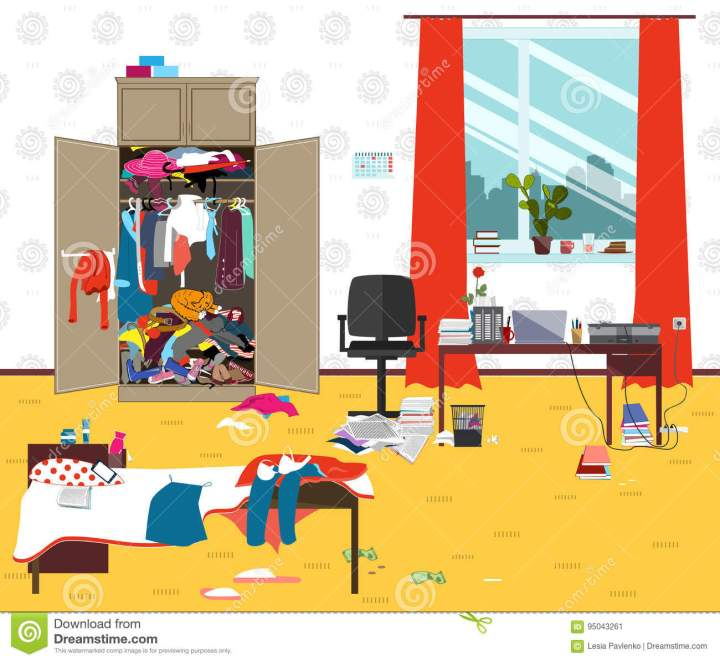 Messy Room Where Young Lady Lives Teenager Or Student Girl Untidy Cartoon