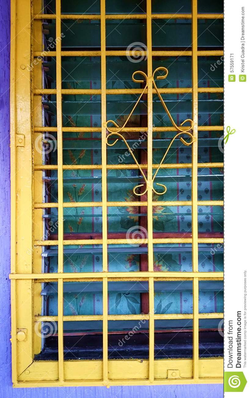 Metal Steel Home Windows Painted Yellow Stock Photo