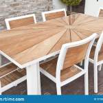 Metal And Wood Outdoor Patio Furniture For Dining Stock Photo Image Of Patio Dining 127387726