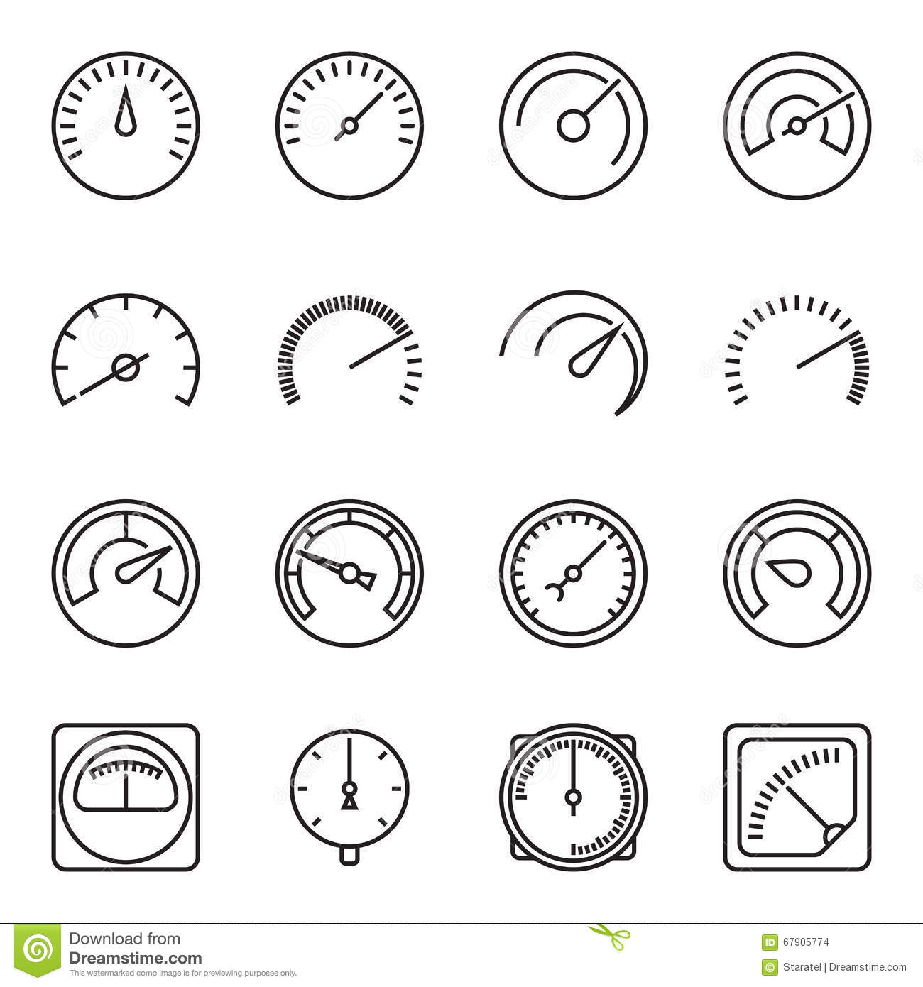Meter Icons Symbols Of Speedometers Manometers
