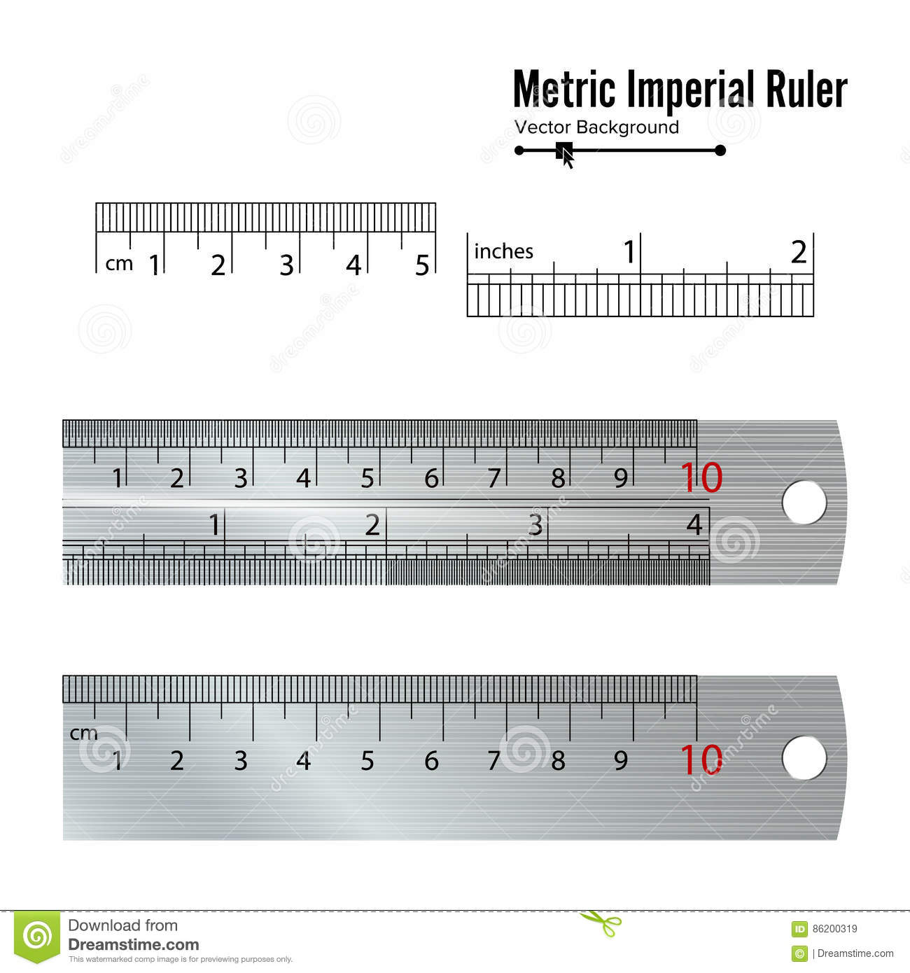 Metric Imperial Rulers Vector Centimeter And Inch