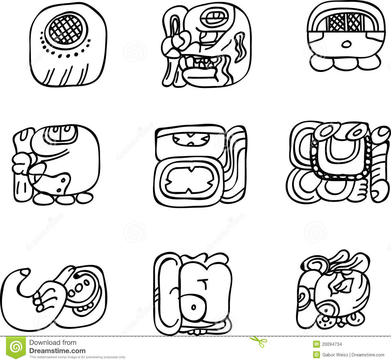 Mexican Aztec Or Maya Motifs Glyphs Stock Images