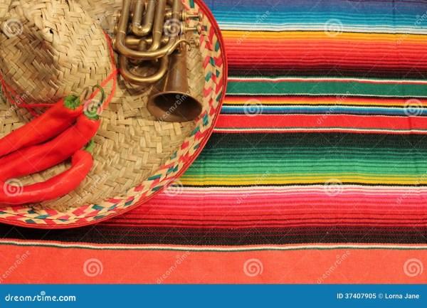 Mexican Poncho Sombrero Background Fiesta Mexico Mariachi ...