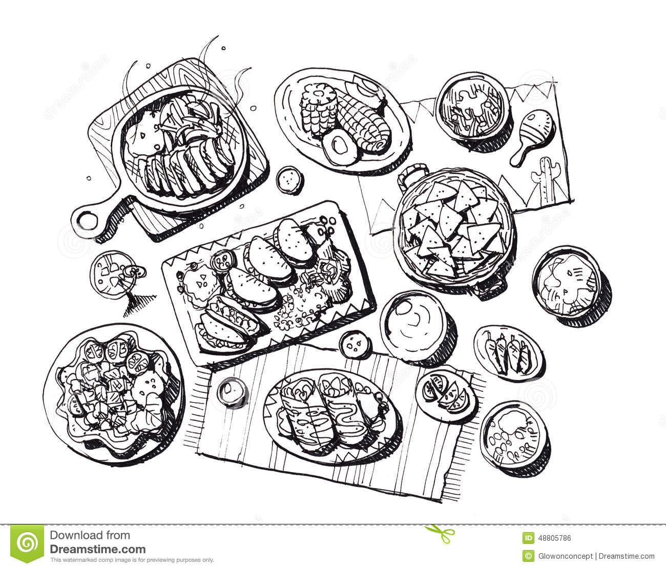 Mexican Food Illustration Stock Illustration