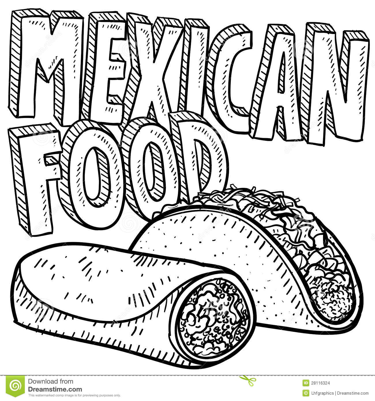 Mexican Food Sketch Stock Vector Illustration Of Cuisine