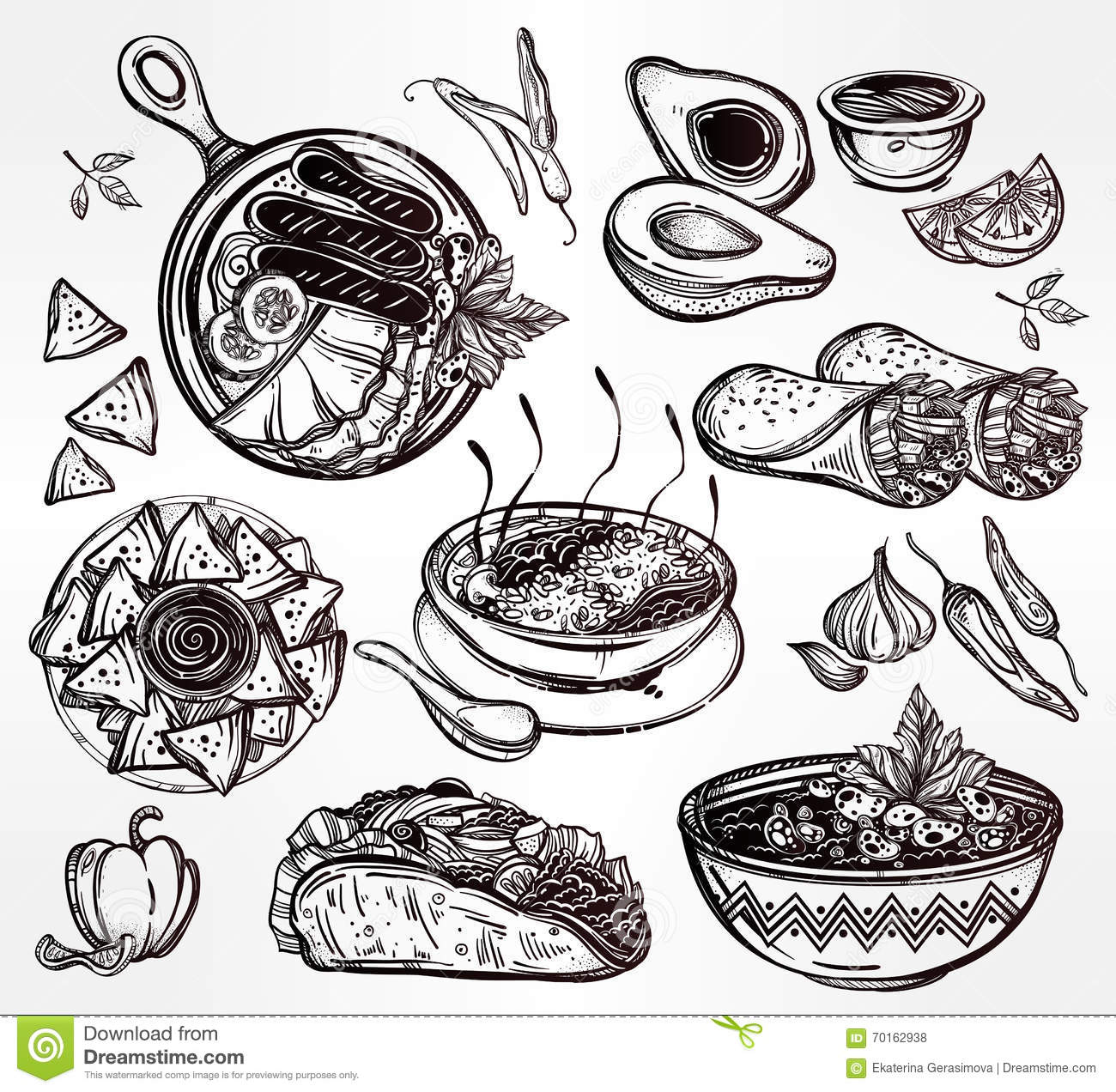 Mexican Food Vector Set Stock Vector Illustration Of