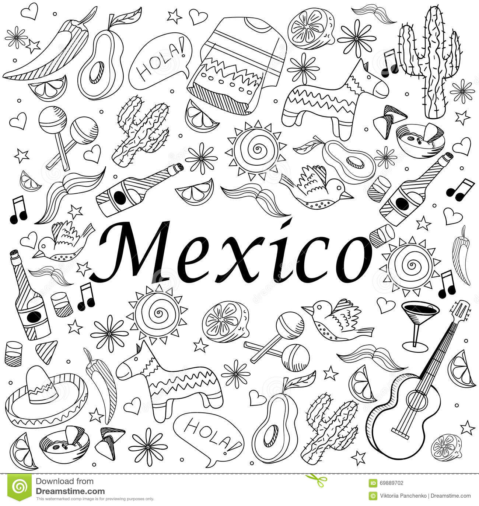 Mexico Coloring Book Vector Illustration Stock Vector
