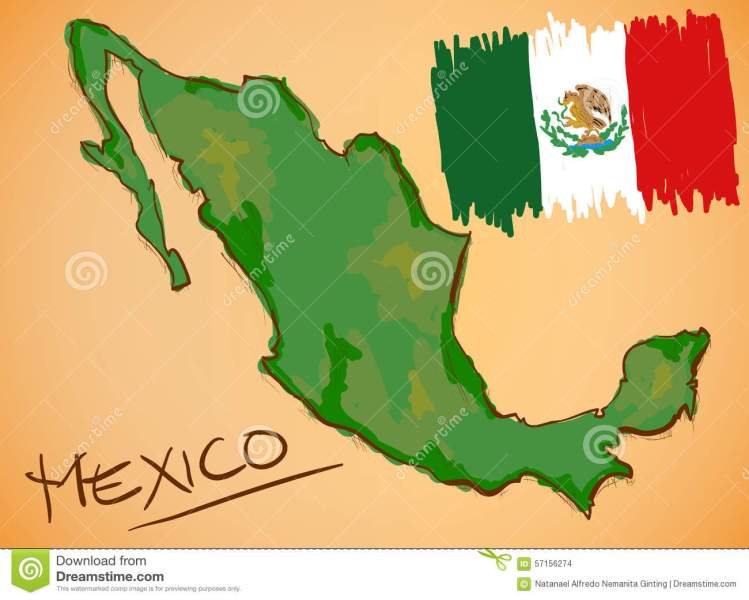 Mexico Map And National Flag Vector Stock Vector   Illustration of     Mexico Map and National Flag Vector