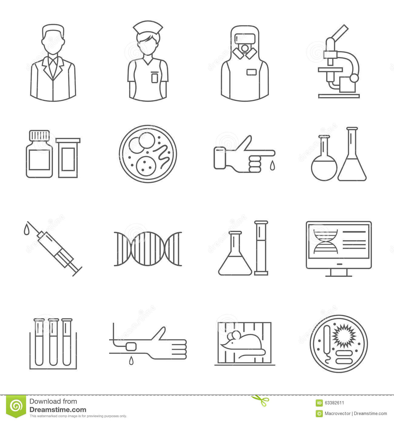 Vector Laboratory Background Line Icons Set And Design