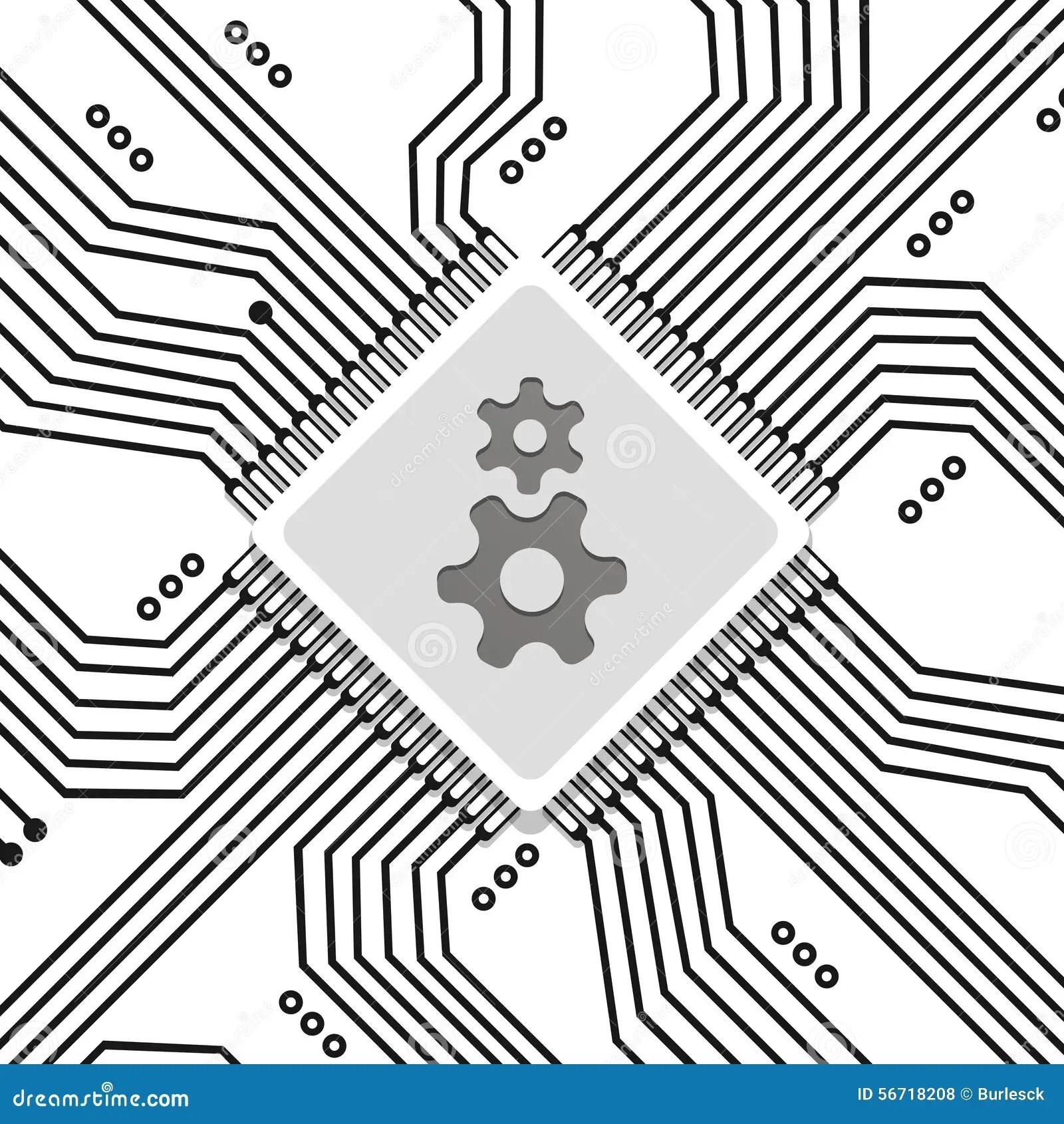 Microchip Circuit Vector Background Stock Vector