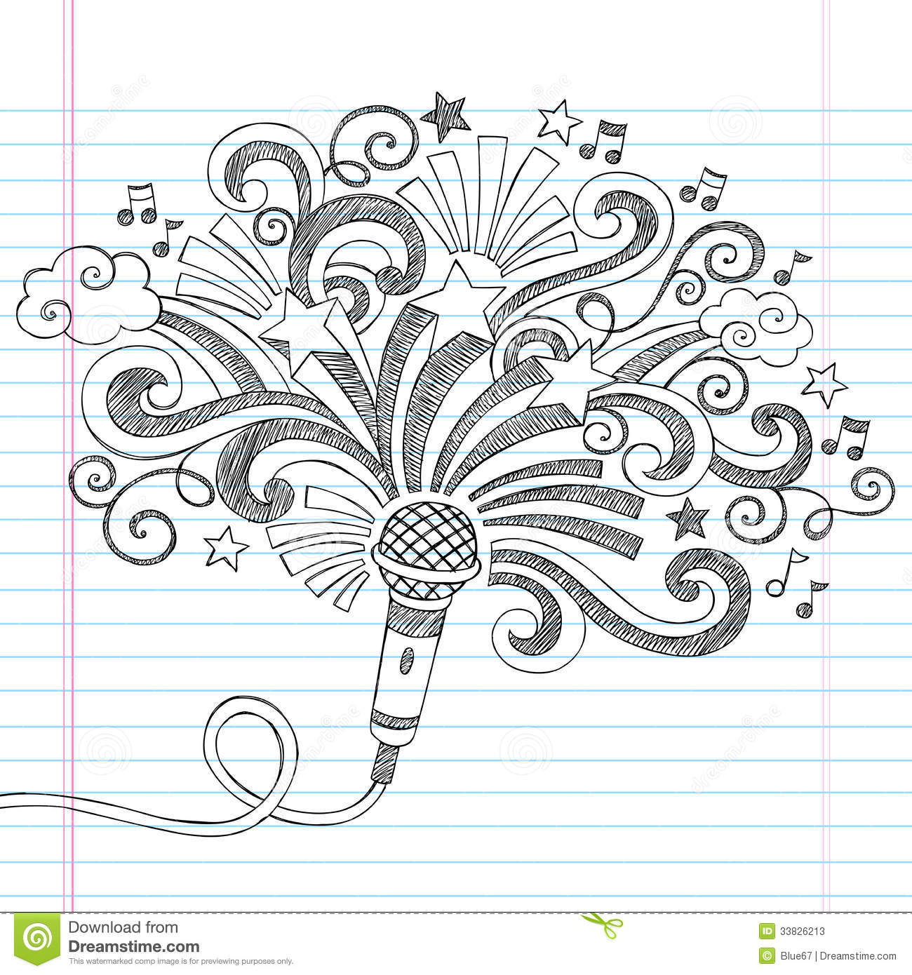 Microphone Music Sketchy Doodles Vector Illustrati Stock