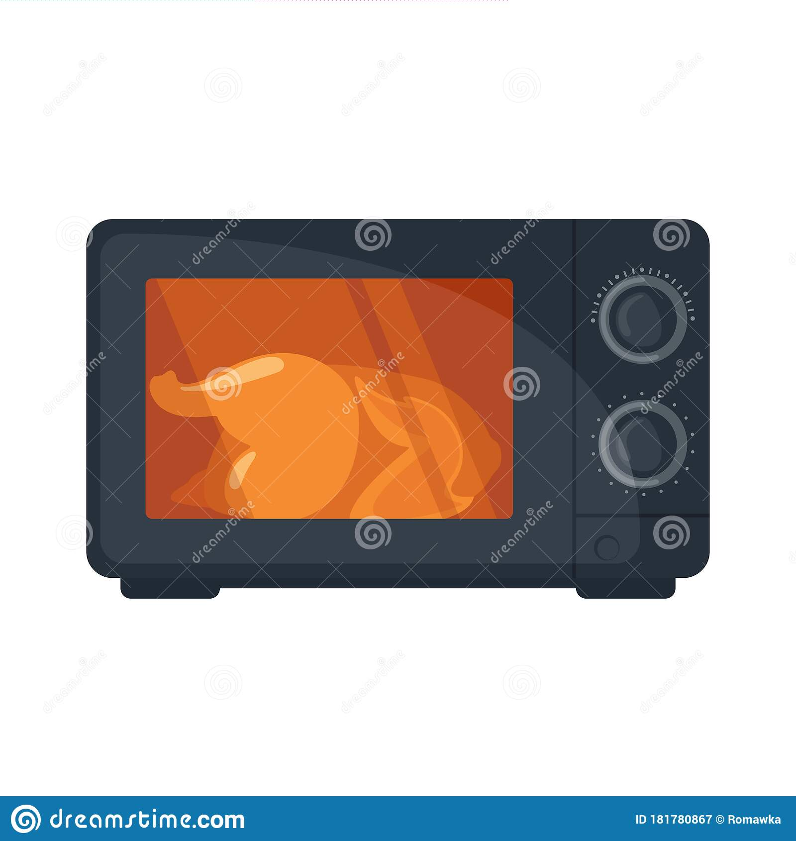 microwave oven with fried chicken icon in flat style isoated on white background stock vector illustration of appliance design 181780867