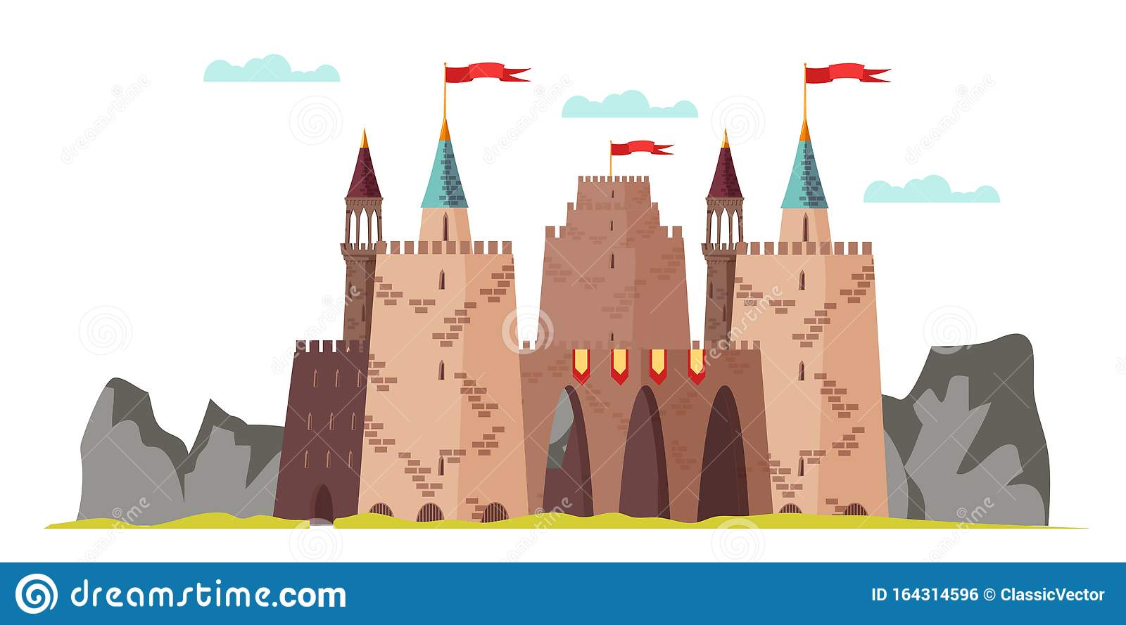 Middle Age Castle Flat Vector Illustration Isolated On