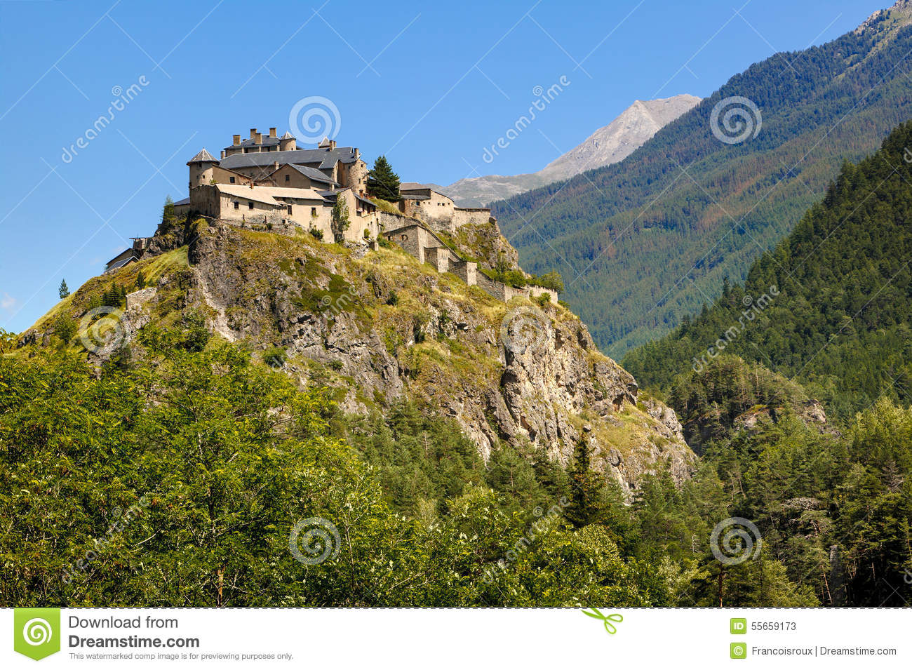 Middle Age Castle On Hilltop Queyras Region French Alps