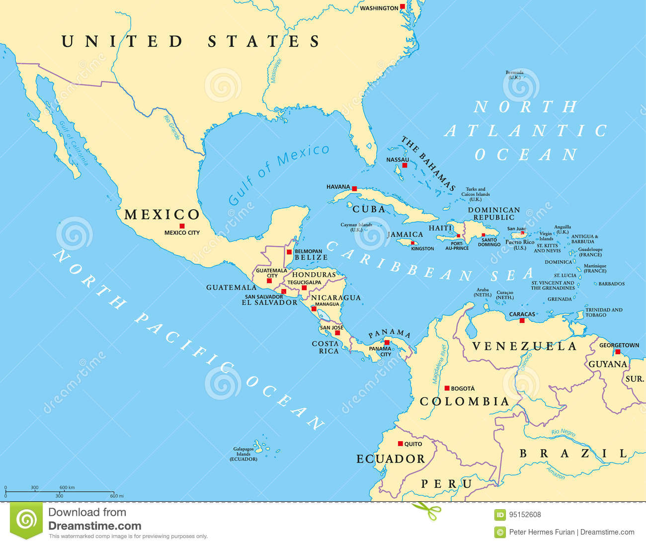 Central America And Caribbean Islands Map Stock Photo