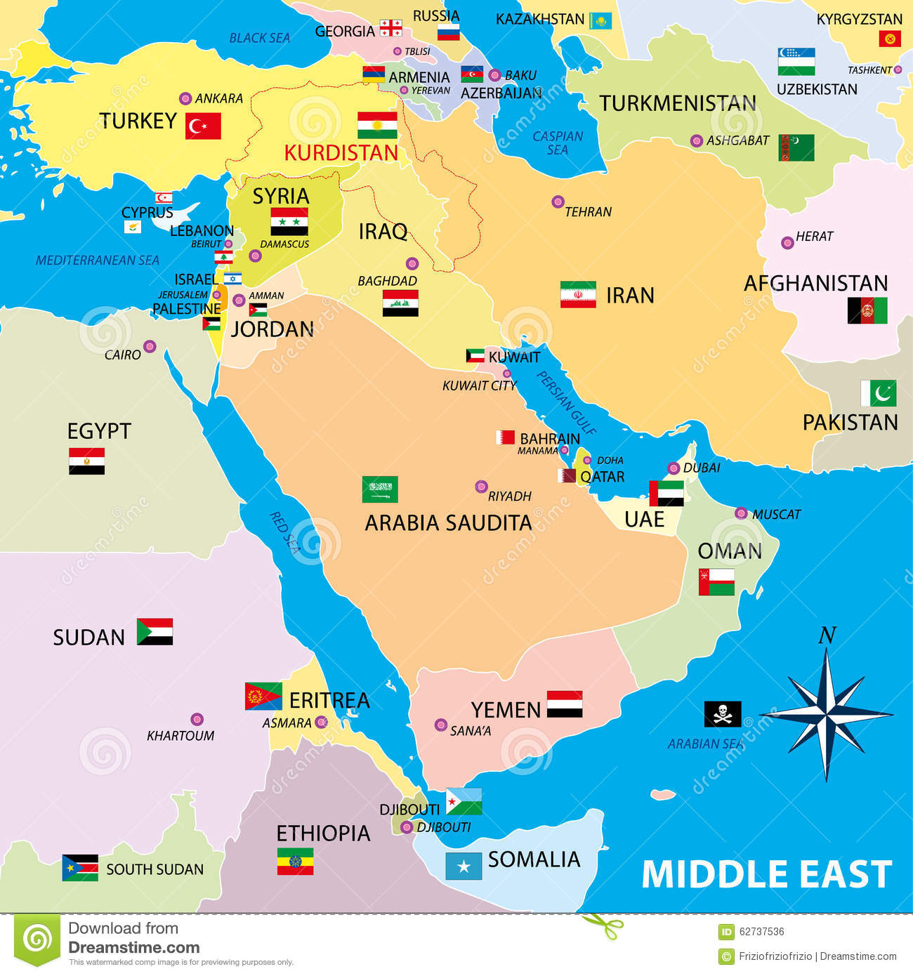 Middle East Map With Borders And Flags Stock Illustration