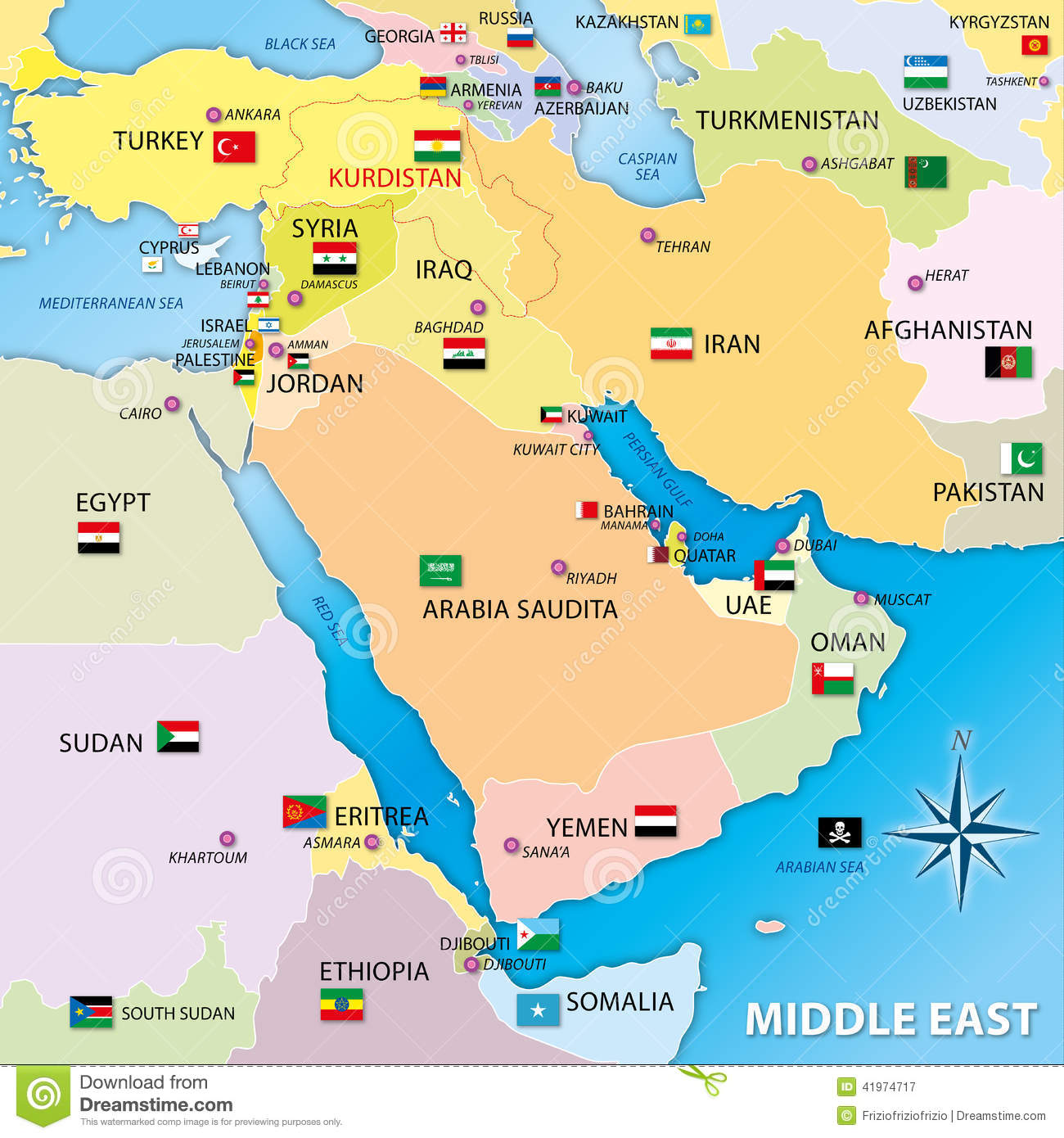 Middle East Map With Flags Stock Illustration