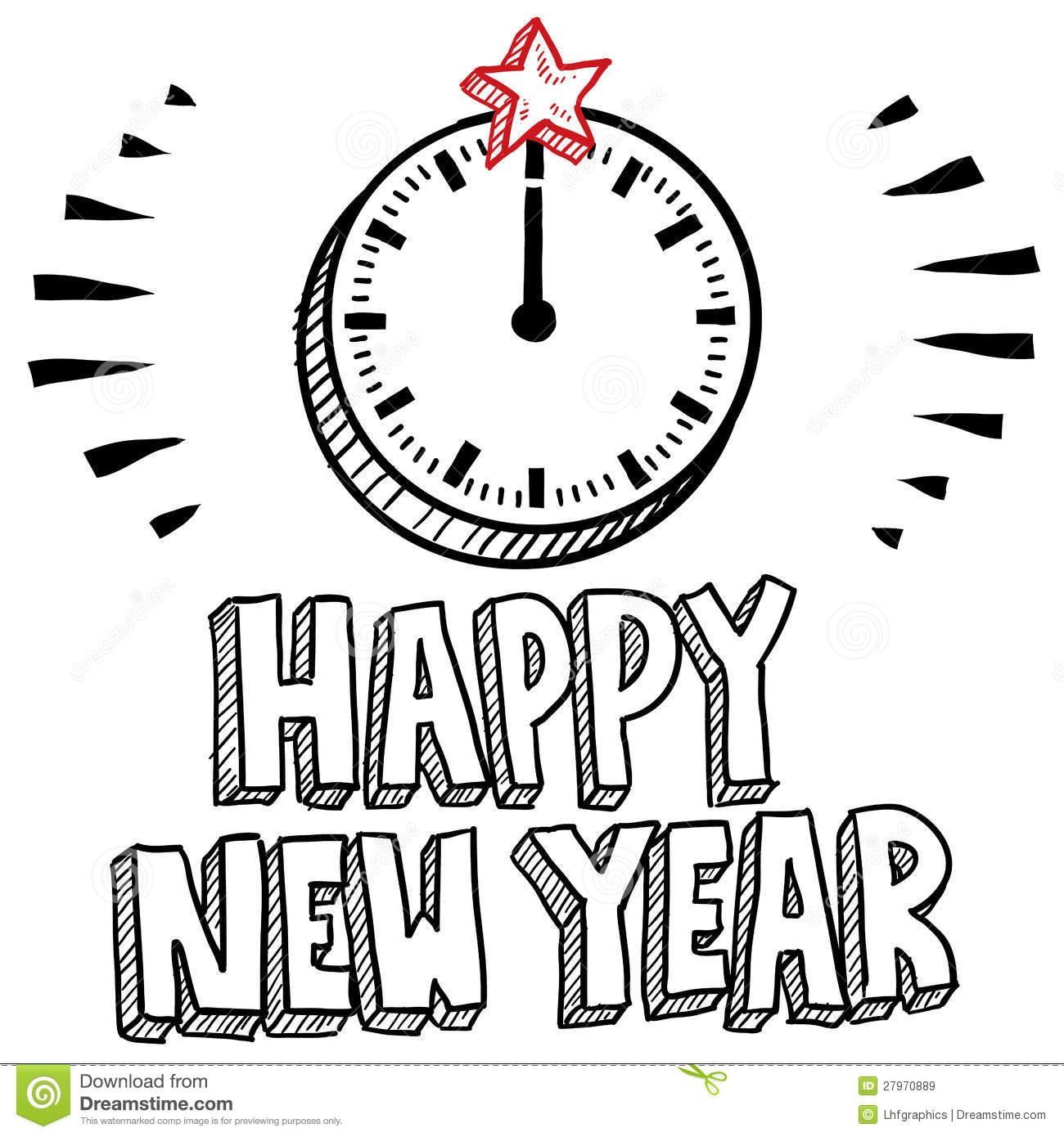 Midnight Clock New Year S Eve Sketch Stock Vector
