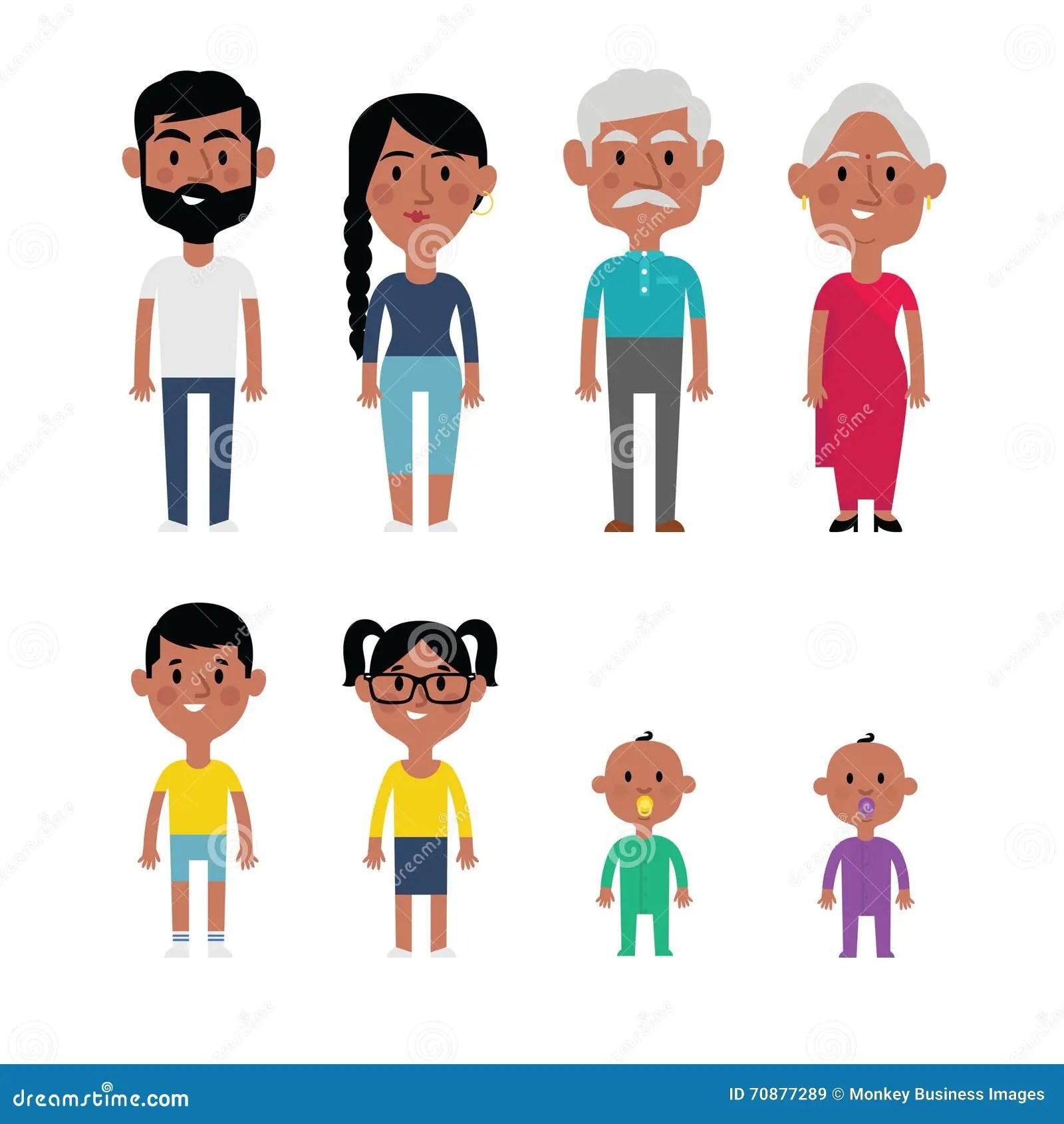 Miembros De La Familia Planos Del Indio Del Vector Padres