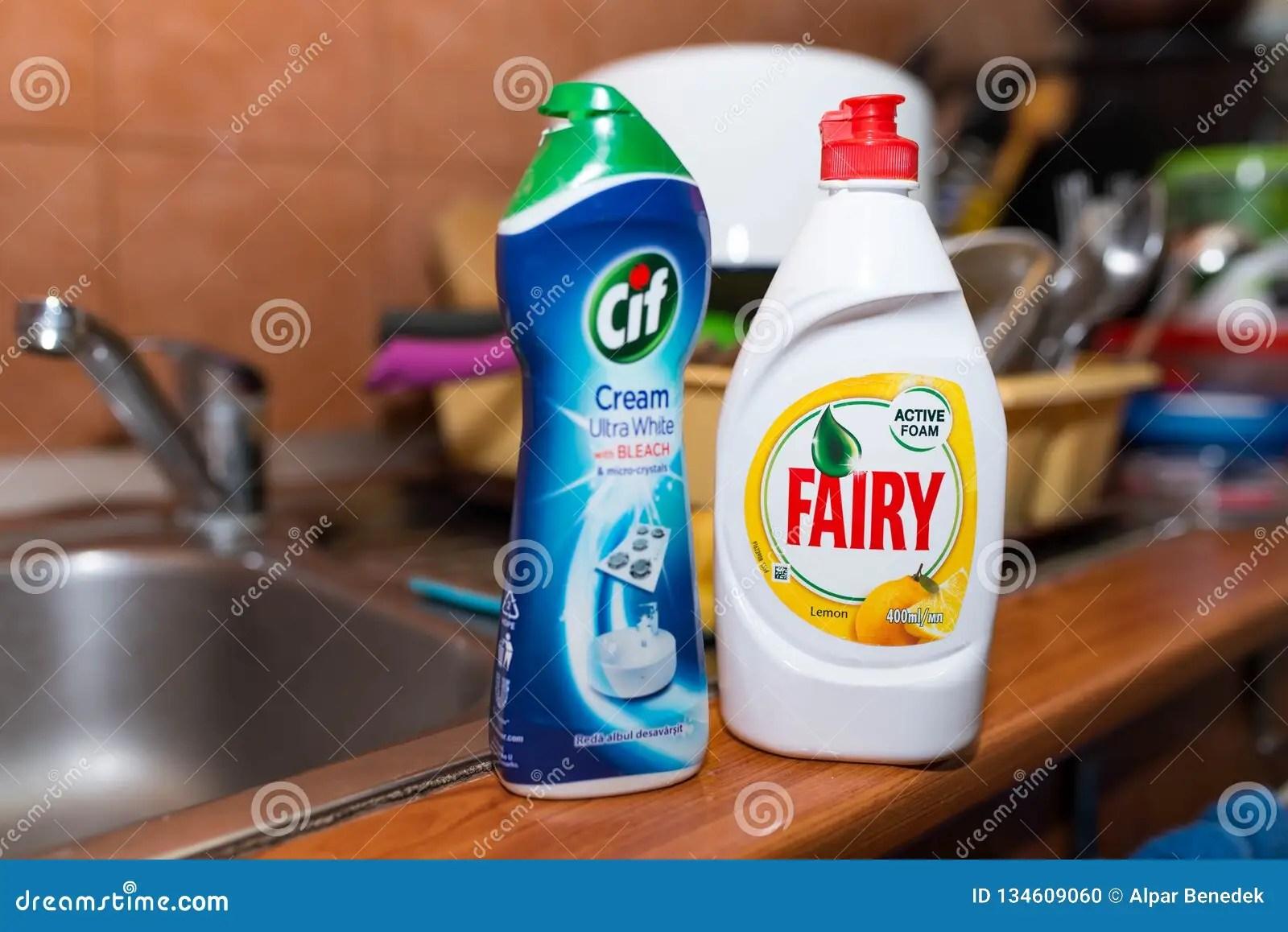 https www dreamstime com miercurea ciuc romania december fairy cif cleaning supplies kitchen sink image134609060