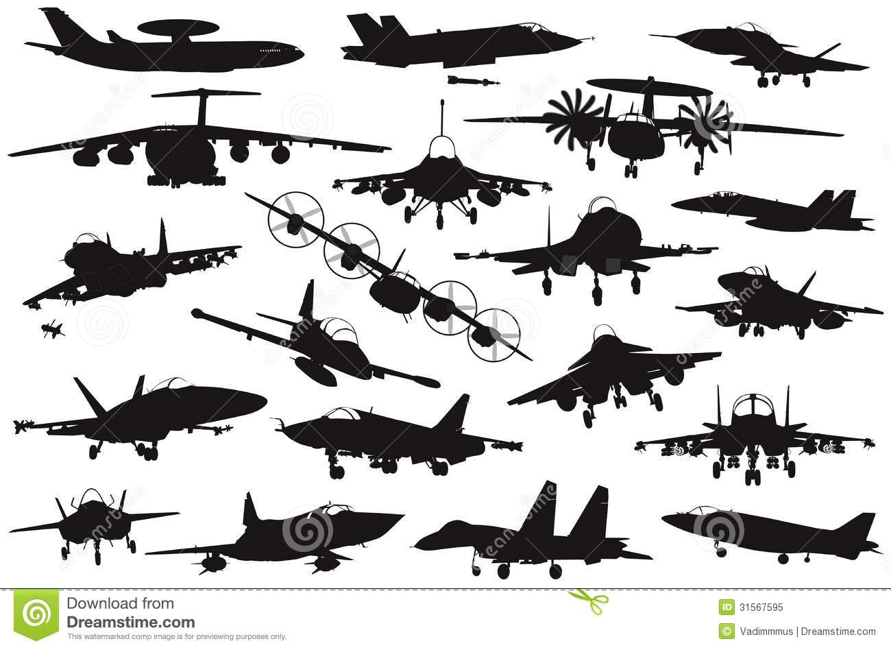 Military Aircrafts Set Royalty Free Stock Photo