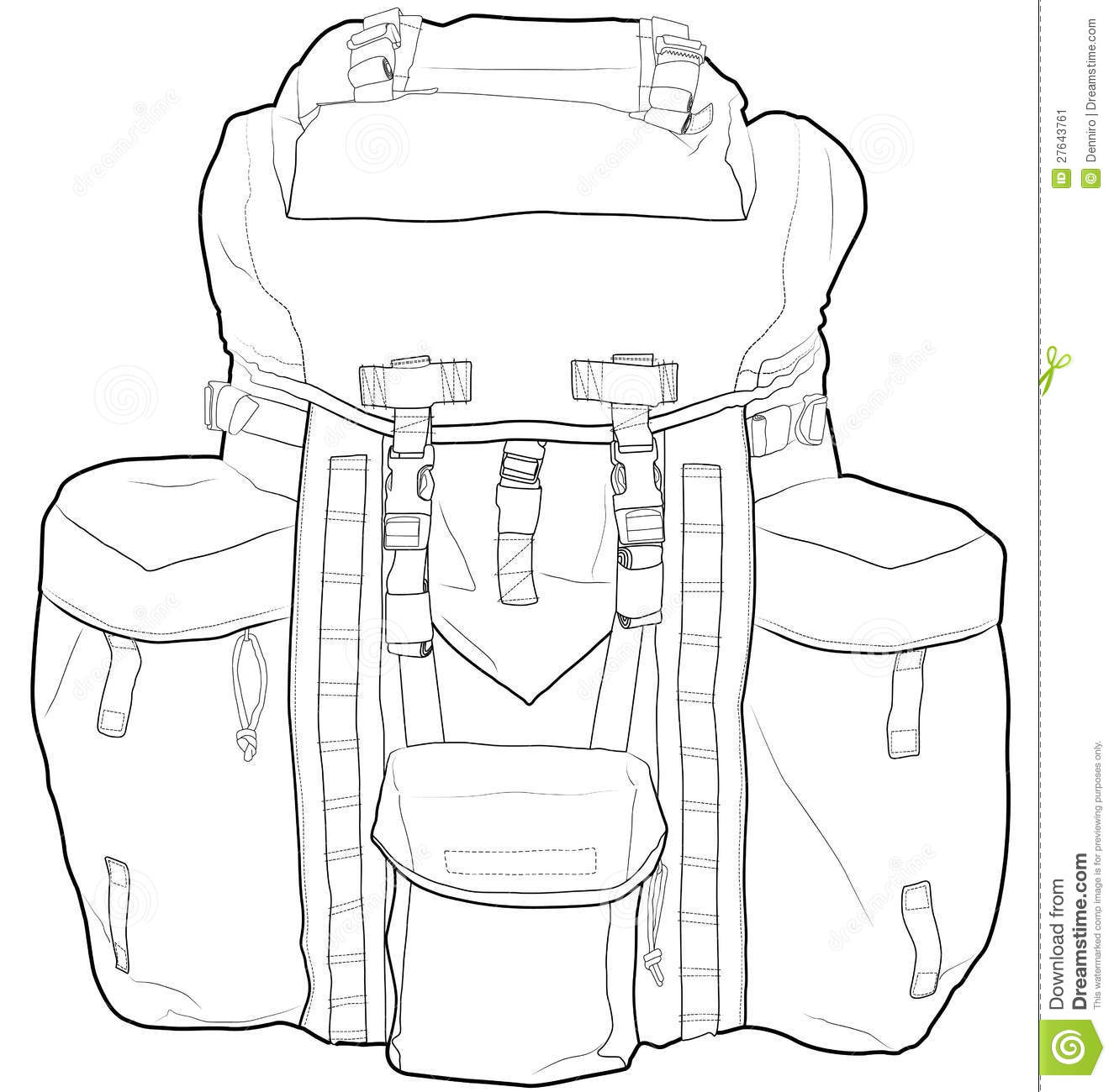 Military Or Hiking Backpack Outline Vector Illustr Stock