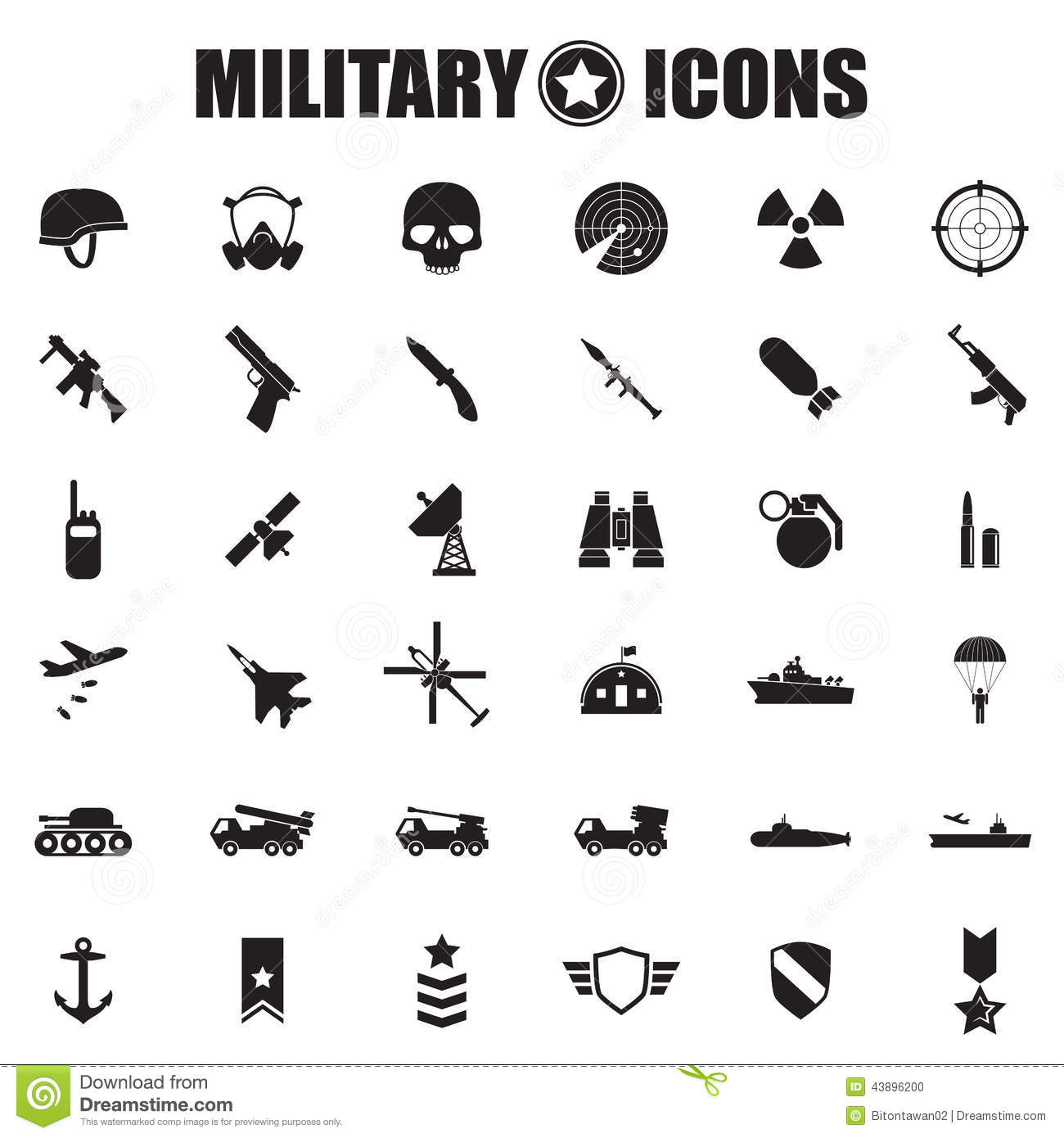 Military Icons Set Stock Vector Illustration Of Bullet