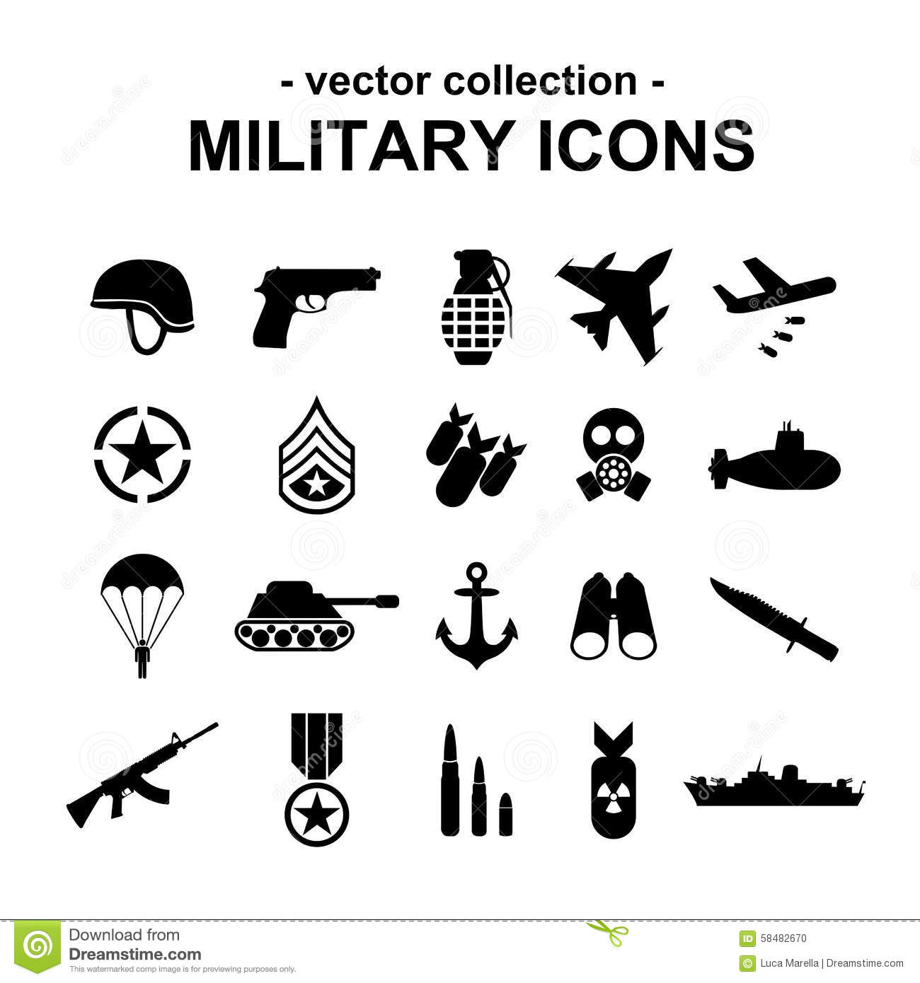 Military Icons Stock Vector