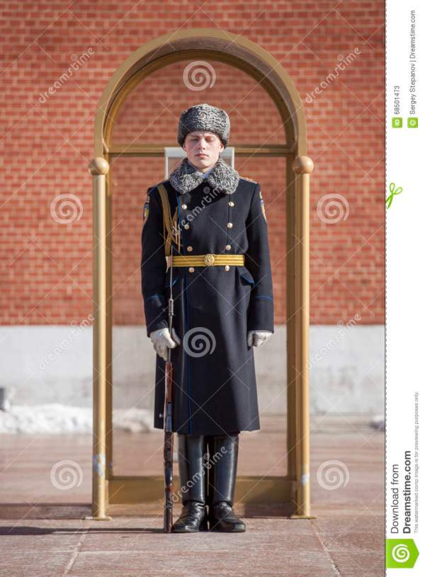 Military Student Stands In Sentry Box In Guard In Honor Of ...