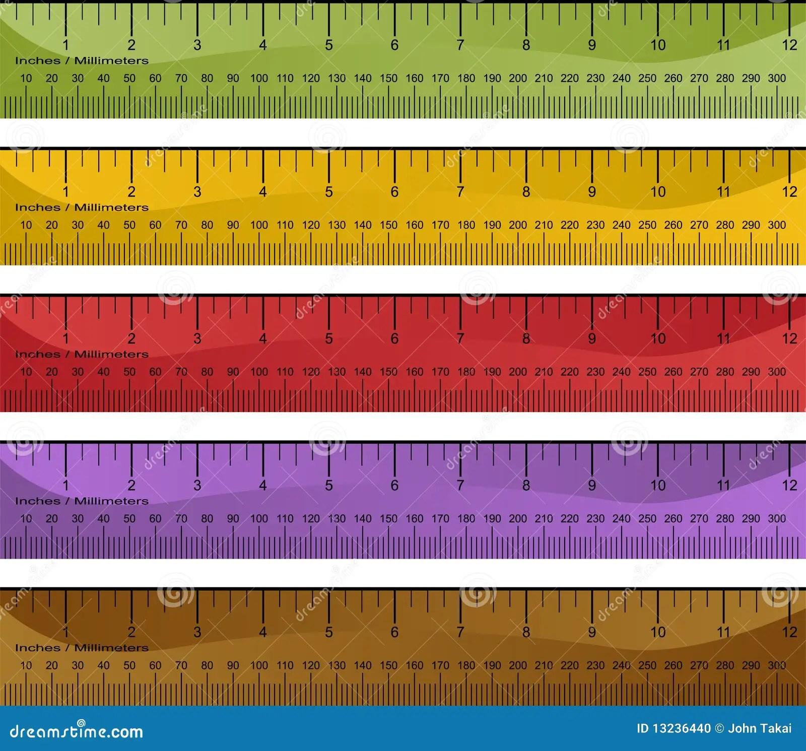 Millimeter Inch Ruler Set Stock Photo