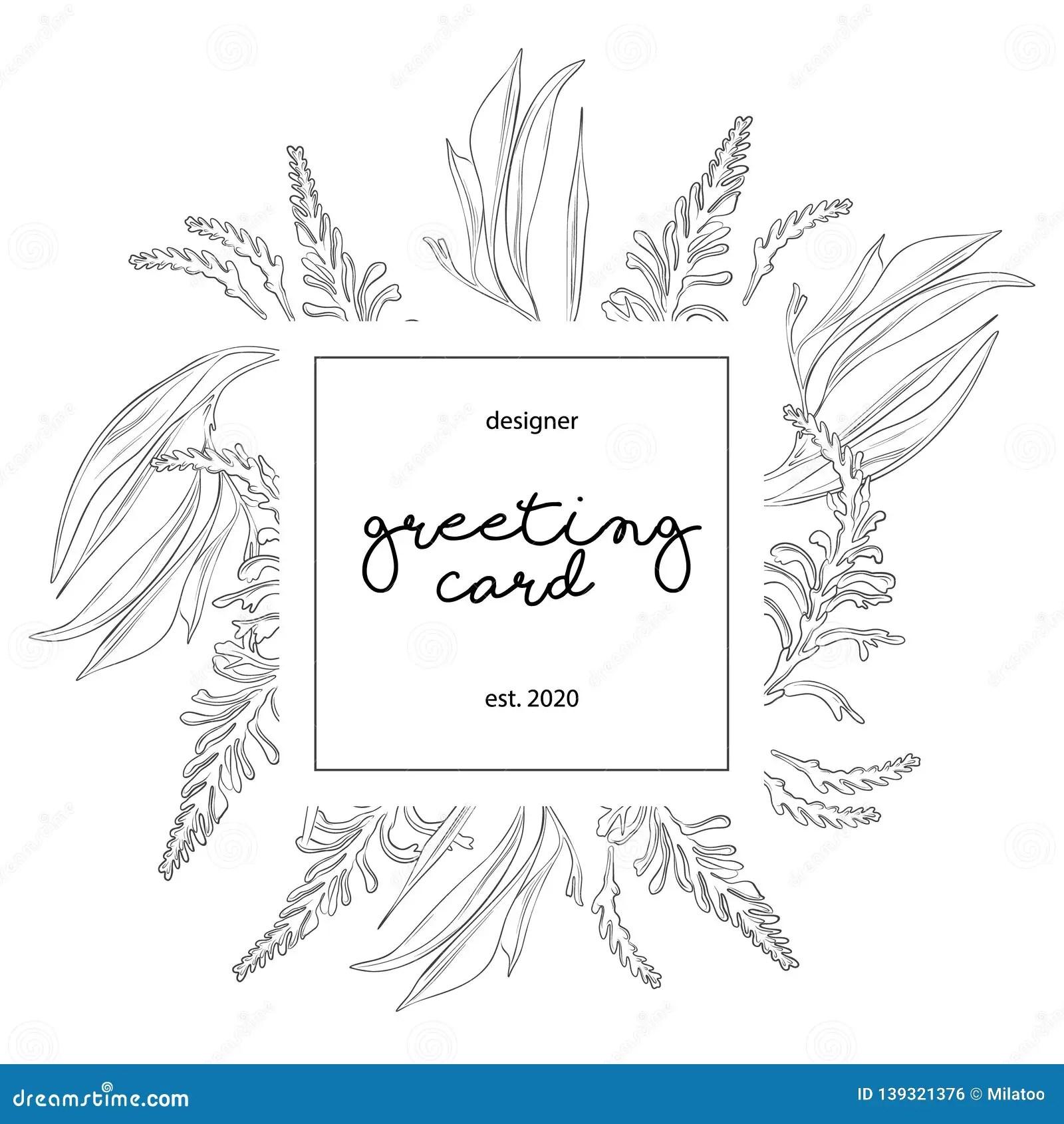 https www dreamstime com minimalist wedding invitation card template design floral black line art ink drawing square frame light grey image139321376