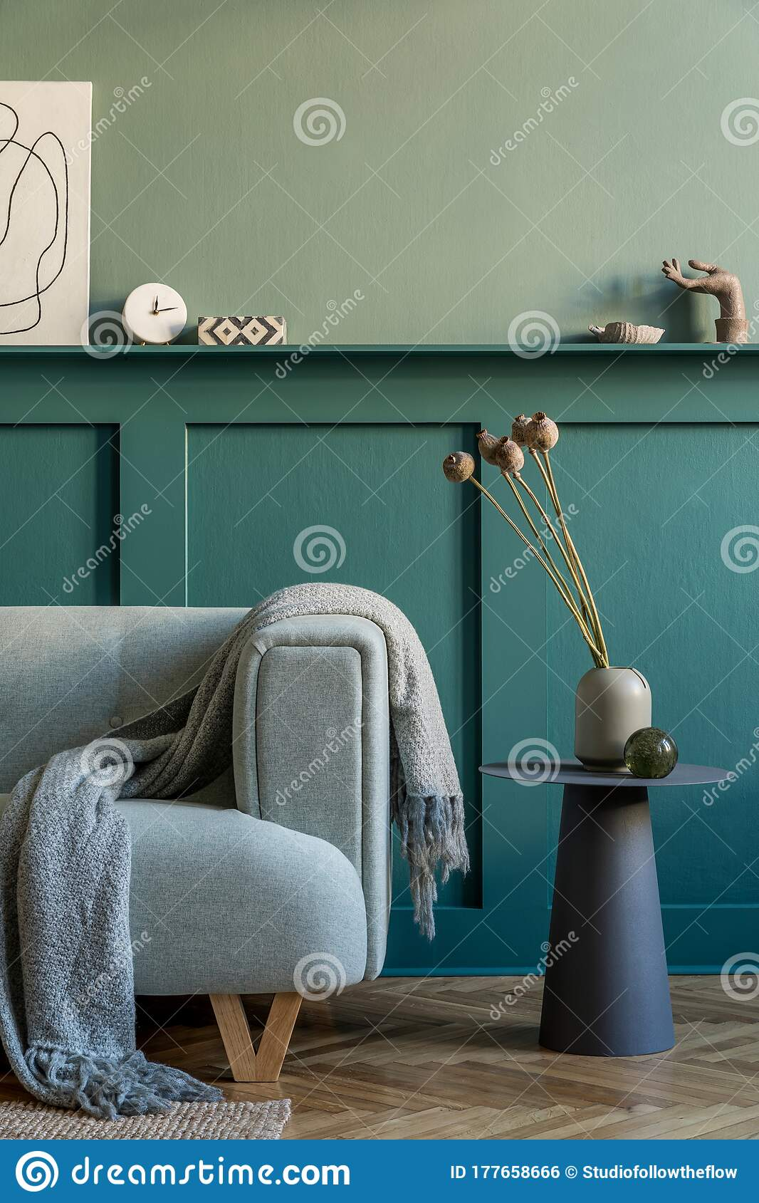 mint sofa and grey coffee table in modern hipster living room stock photo image of home mint 177658666