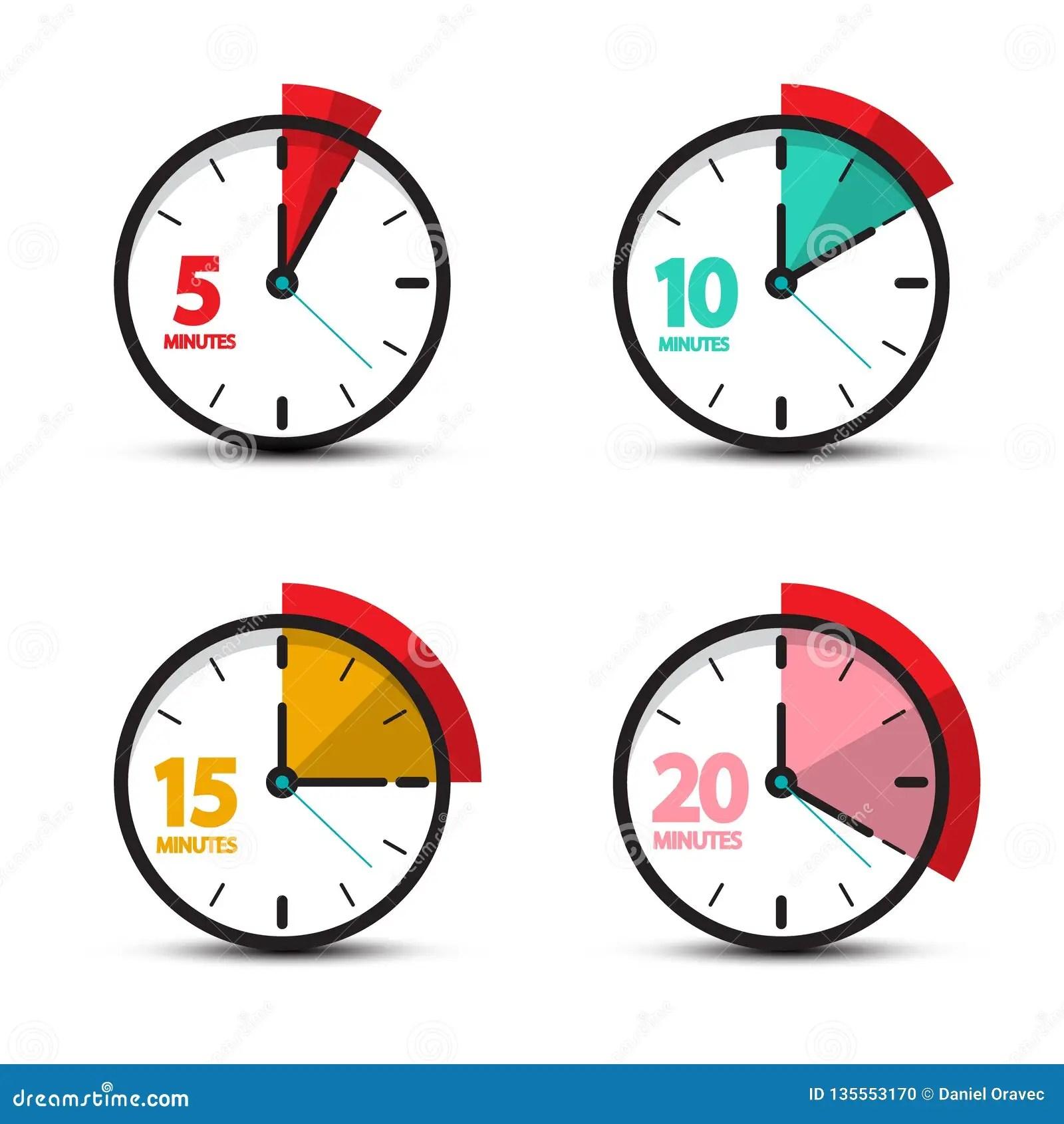 5 10 15 20 Minutesog Clock Icons Stock Vector
