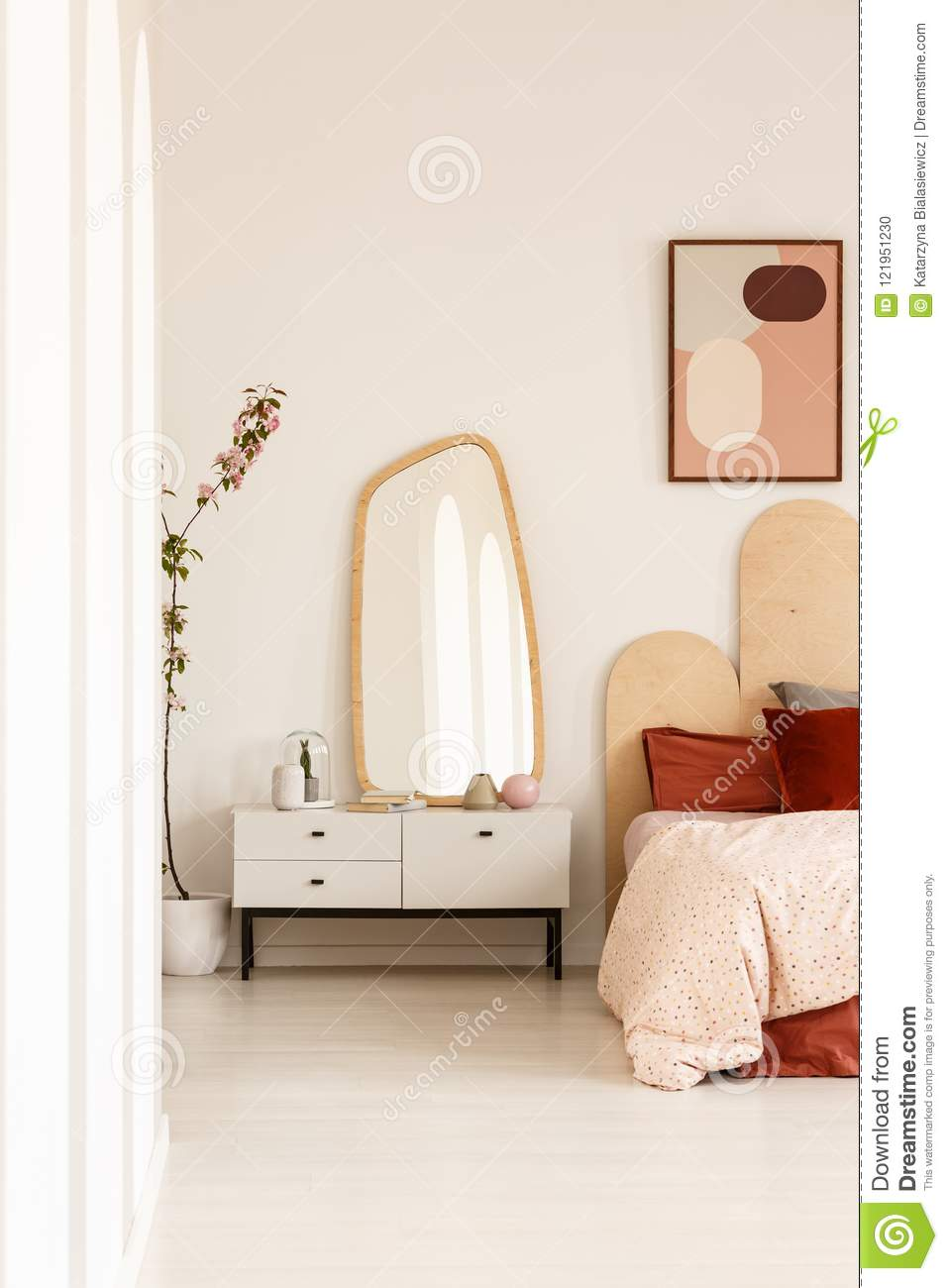 Mirror On White Cabinet Next To Bed With Headboard Under ... on Mirrors Next To Bed  id=57616