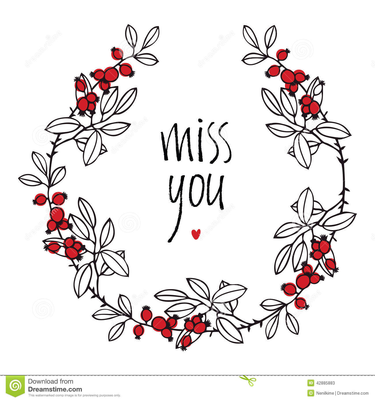 Miss You Design Card With Floral Vignette Leaves And Red