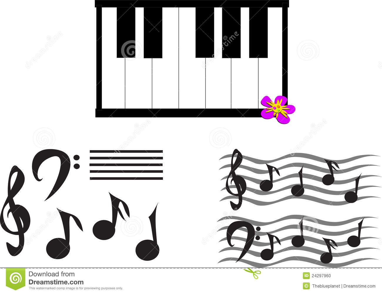 Mix Of Musical Notes Symbols And Keyboard Stock Photo