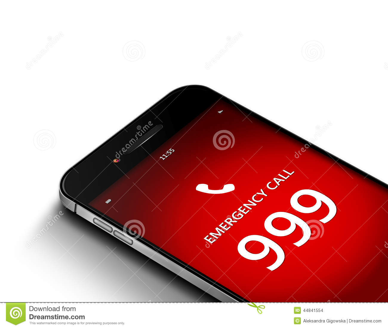 Mobile Phone With Emergency Number 999 Over White Stock