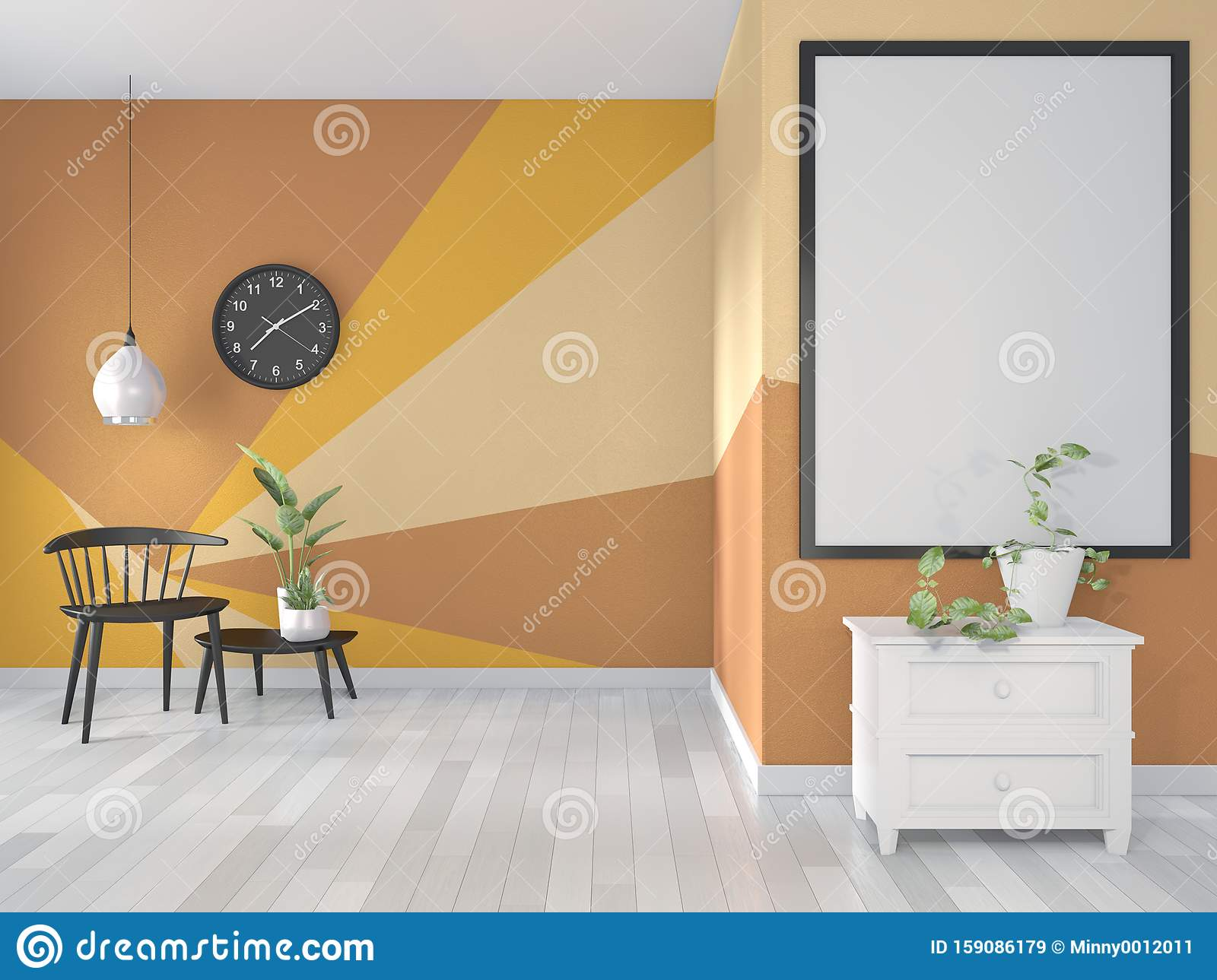 Mock Up Ideas Of Yellow And Orange Room Geometric Wall Art Paint Design Color Full Style On Wooden Floor 3d Rendering Stock Illustration Illustration Of House Concept 159086179