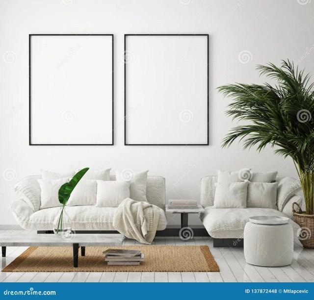 Mock Up Poster Frame In Modern Interior Background, Living ...