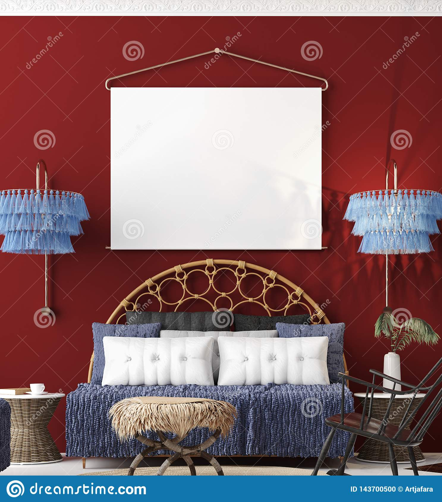 Mock Up Poster In Living Room Interior Bohemian Style Stock