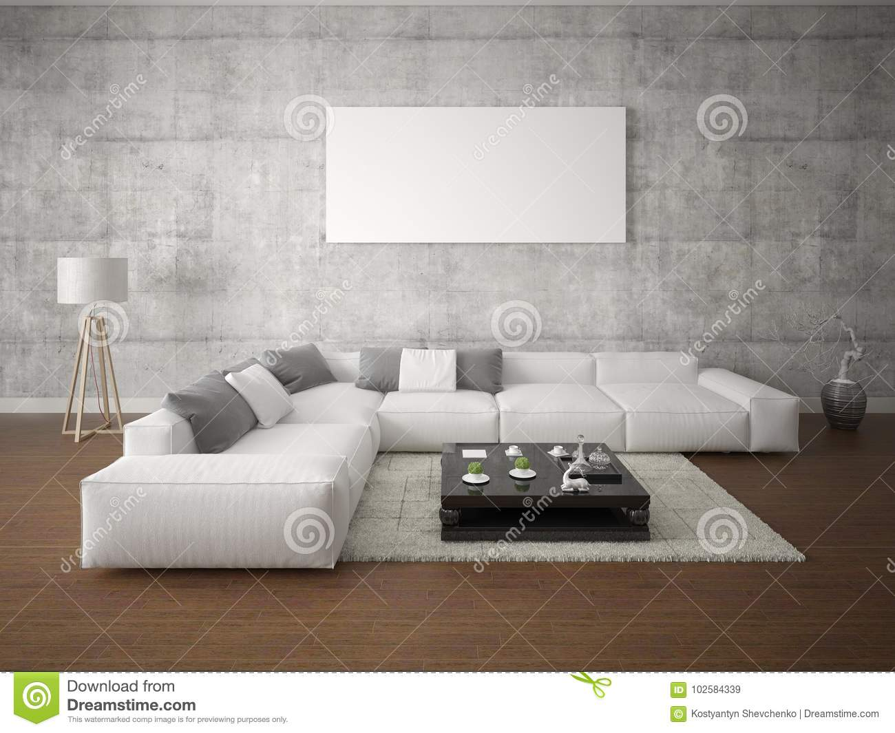 Mock Up A Spacious Living Room With A Large Corner Sofa