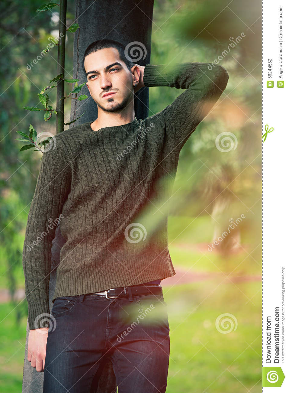 Model Man Short Hair Leaning Against A Tree In A Nature