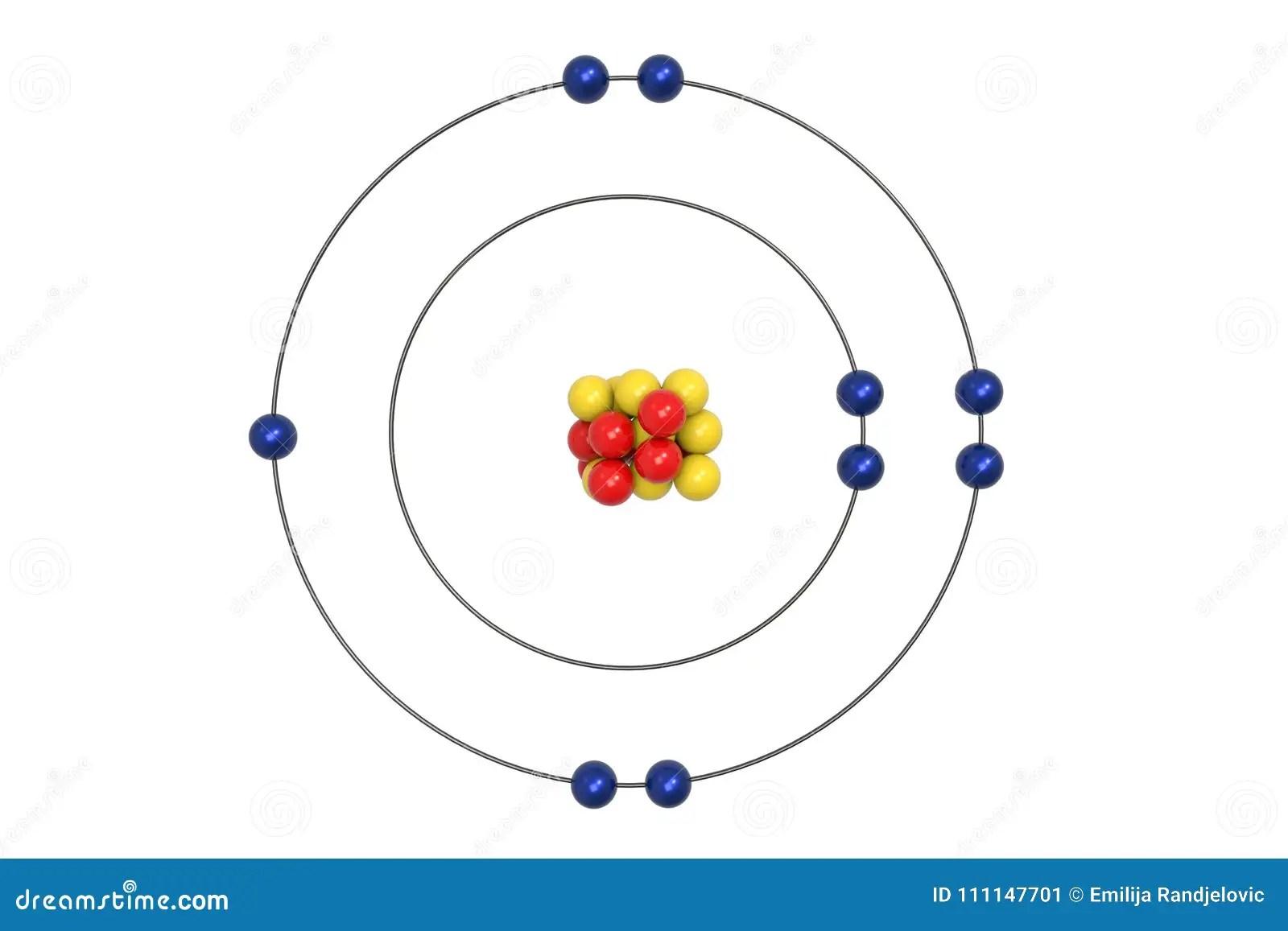 Modello Di Atom Bohr Del Fluoro Con Il Protone Il