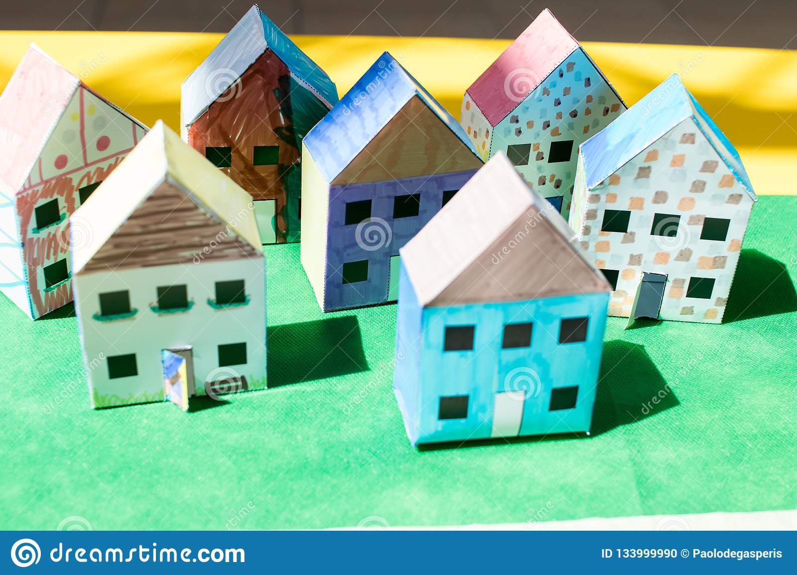 Models Of Paper Houses Cut Out And Colored By Children