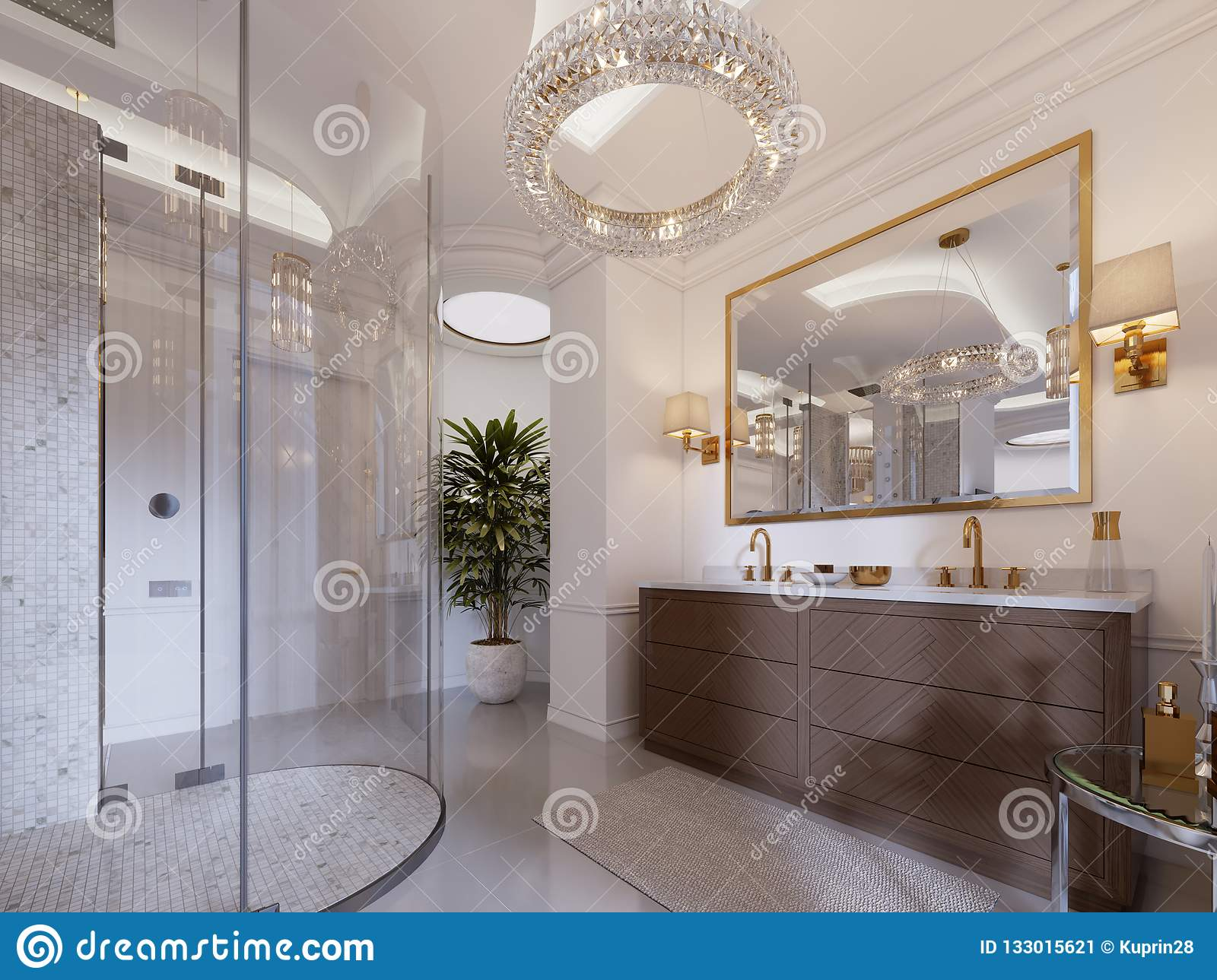 https www dreamstime com modern bathroom vanity mirror gold frame sconces wall low table decor shower fashionable image133015621