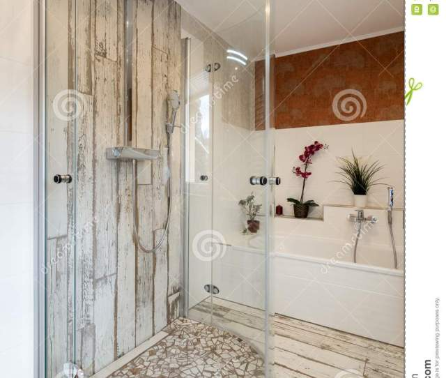 Modern Bathroom In Vintage Style With Round Glshower