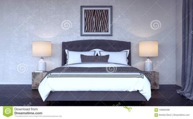 Modern Bedroom Interior Design 3d Render Stock ...