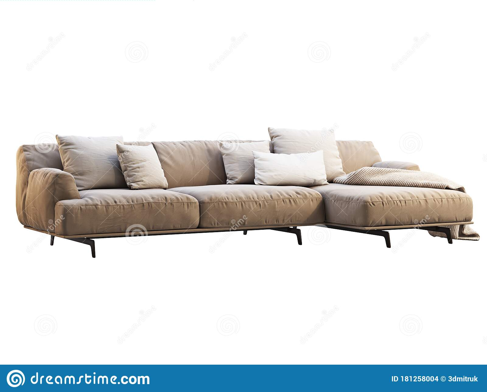modern beige chaise lounge fabric sofa with pillows and knitted blanket 3d render stock illustration illustration of chaise background 181258004